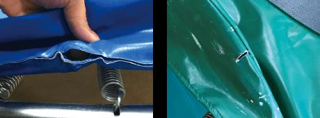 フレームパット 縫製糸の解れ、表生地の摩耗、破れ